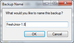 Backup Naming dialog box